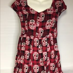 Hot Topic Red Black Skulls Dress Medium.